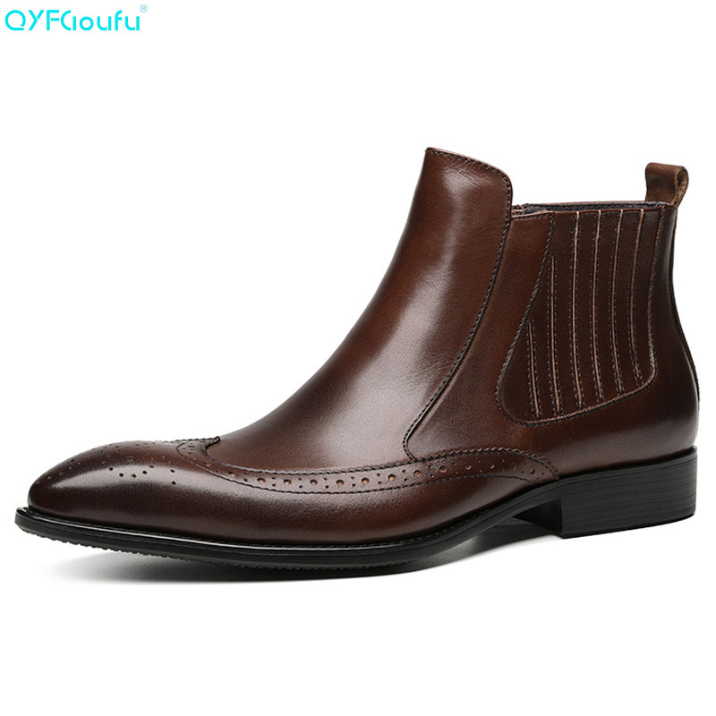 QYFCIOUFU Italian Fashion Designer Genuine Leather Brogue Mens Ankle Boots Pointed Toe Slip-on Handmade Formal Dress Boots ShoeQYFCIOUFU Italian Fashion Designer Genuine Leather Brogue Mens Ankle Boots Pointed Toe Slip-on Handmade Formal Dress Boots Shoe