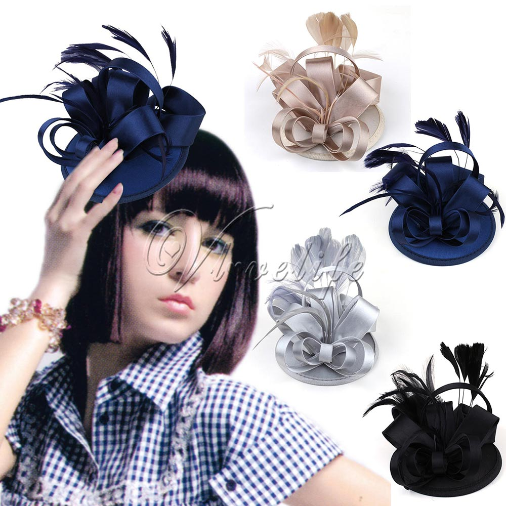 Black Blue Champagne Silver Womens Mini Top Hat Cap Hair Clip With Feather  Satin Bow Party Hat Women s Clothing   Accessories b9f6ff41143