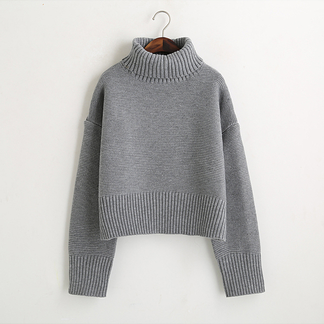 Turtleneck Sweater 2017 Women Vintage High Neck Wide Sleeve Knitted Thickening Warm Pullover Oversize Jumper Large Loose Sweater