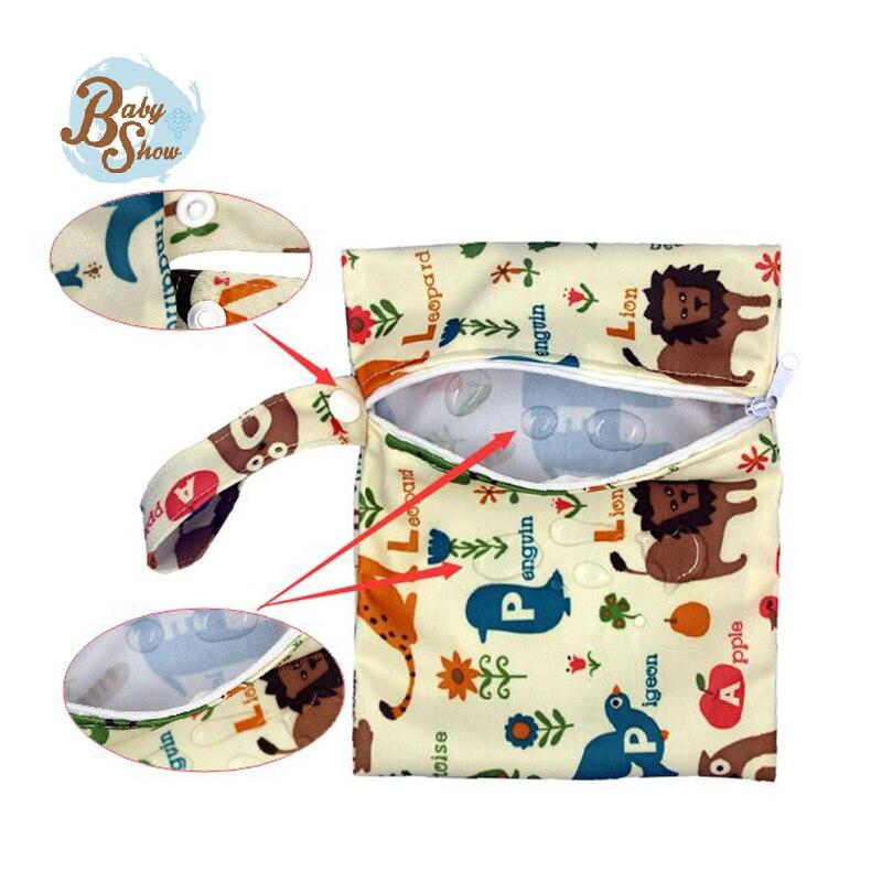 Babyshow Многоразовые Ткань Пеленки Мешок 16*20 см Один Карман Молния Мини ткань Пеленки Мокрые Мешок Bolso Bebe Детские Пеленки Мусор Пеленки мешок