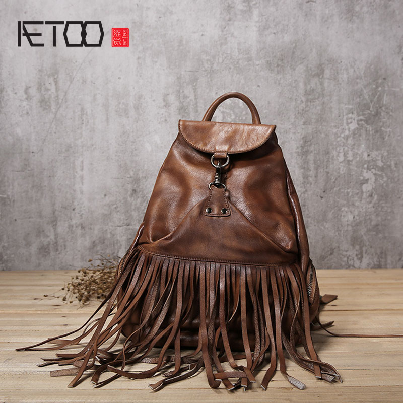 AETOO Leather backpack women's shoulder fashion hand-wiping the first layer of cowhide retro tassels large capacity female packa royal view place 3 паттайя