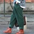 SCUWLINEN 2017 Primavera Inverno Mulheres Calça Calças de Veludo Cotelê Harém Senhoras Casuais Calças Cintura Elástica Calças Cheios Mulheres Calças Hip S64