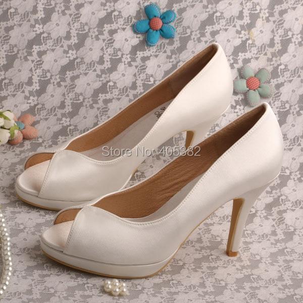 Wedopus Name Brand Satin Wedding Shoes Heels 10CM Peep Toe