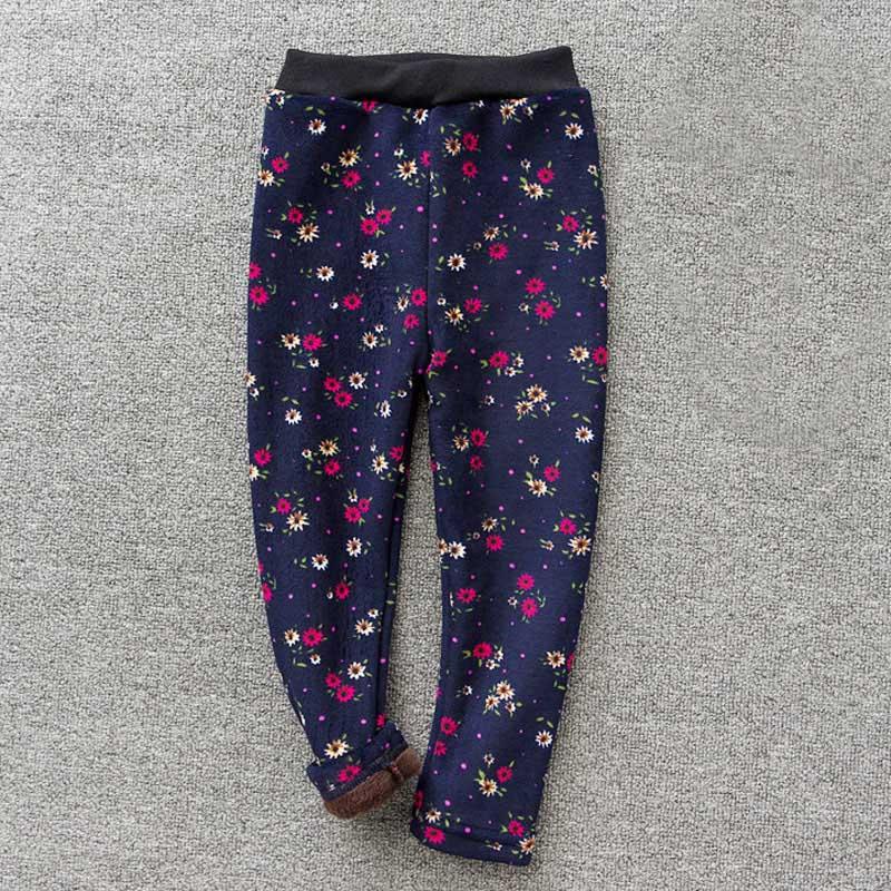 Детские штаны, осенне-зимние леггинсы для малышей, штаны для девочек с разноцветным принтом в виде цветов и бабочек - Цвет: 1