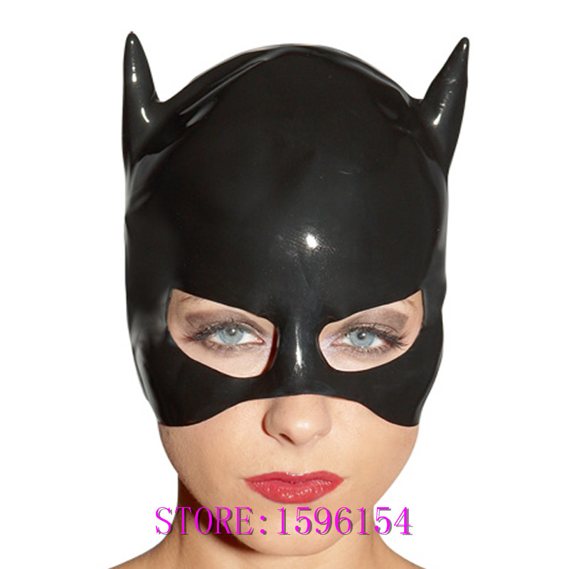 Black Lattic Cat Mask Fetish Natrual резеңкеден Party Hood - Костюмдер - фото 1