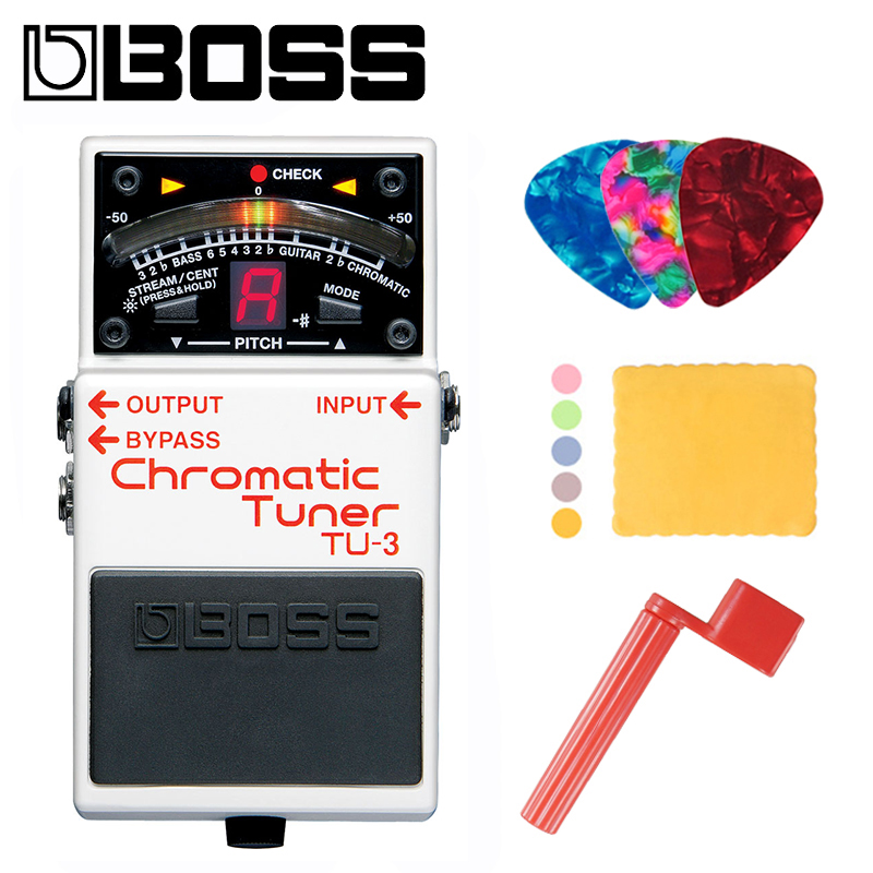 Boss TU 3 Chromatic Guitar and Bass Tuner Pedal with Bypass Bundle with Picks Polishing Cloth