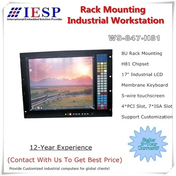 "8RU Rack Mount Industrial Workstation, 17"" LCD, H81 Chipset, 4*PCI, 4*ISA, LGA1150 CPU, rack mount industrial computer, OEM/ODM"