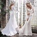 Long Sleeve Lace Mermaid Boho Wedding Dress 2016 Vintage V Neck Bride Bridal Gown vestido de noiva com renda