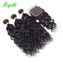 hot deal buy water wave bundles with closure peruvian hair bundles with closure (4*4) remy human hair 3 bundles with closure free shipping