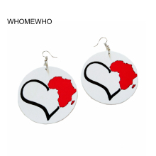 White Wood Red Africa Map Black Heart African Traditional Costume Earrings Vintage Silver Bohemia Wooden Ear Party Club Jewelry