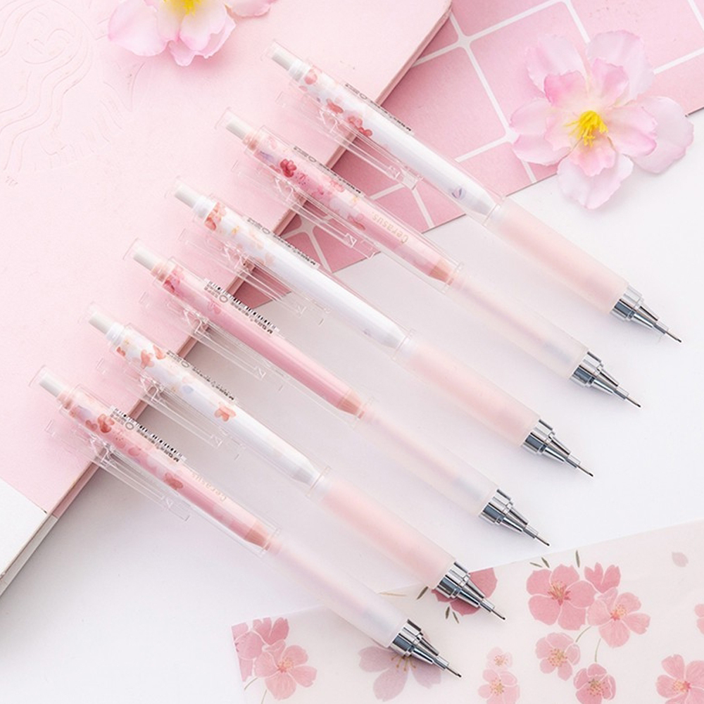 0.5mm Japan Lovely Cherry Blossoms Automatic Pencil Kawaii Plastic Mechanical Pencils For Kids Gifts Student Supplies Stationery image