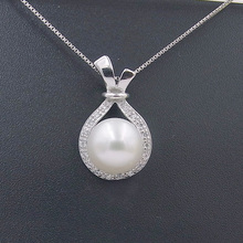 Sinya 925 sterling silver natural pearl pendant necklace for women fashion design fine jewelry with 18inch 0.8mm box chain