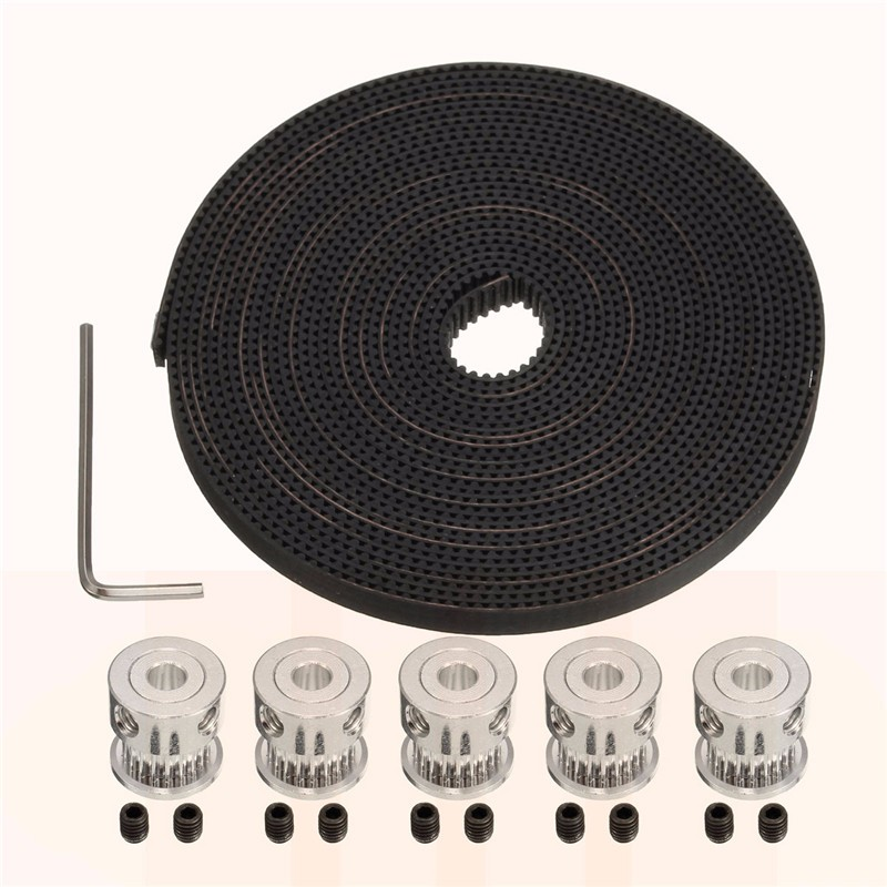 5Pcs 20 tooth GT2 Timing Pulleys + 5 Meters GT2 Timing Belt Width 6mm + 10 x Screws + 1 x Wrench for Reprap S7 3D Printing x axis 9 meters 16 9 xl 9000 timing megadyne belt for gongzheng wit color inkjet printers