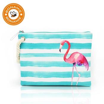 BONAMIE Women's Wet Bikini Clutch Bag Brand Designer Fashion Stripe Lady's Handbag Flamingo Hemp Rope Beach Bags Bolsa Feminina 1