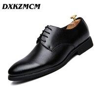 DXKZMCM גברים נעלי אוקספורד שחור/חום נעלי עסקי עור אמיתי נעלי נעלי חתונה פורמלית
