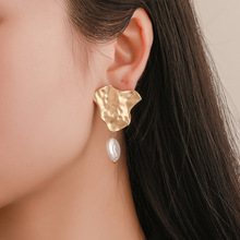 Korean Version Earrings Personality Geometric Irregular Fold Metallic Temperament Pearl Valentines Day Gift