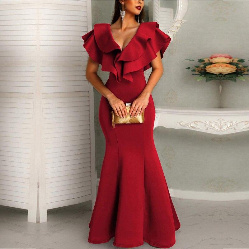 Women Deep V Layered Ruffles Fishtail Dress Streetwear Trumpet Mermaid Solid Short Sleeve Ankle-Length Summer Party Dress
