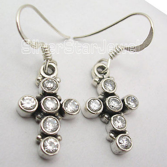 Silver CUBIC ZIRCOM 6 JEWEL CROSS Earrings 3.4 CM MADE IN INDIA