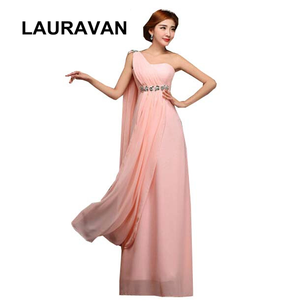 Cheap Long Semi Formal One Shoulder Light Pink Peach Red High School Bridesmaid Semi Formal 2019 Party Dresses Girls Gown