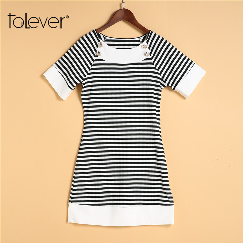 Fashion Summer Women Knitted Striped Dress Sheath Sexy Mini Bodycon Dress Female Elegant Casual Beach Party Sundress 5XL Talever canis sexy women sexy sleeveless party evening cocktail summer beach short mini dress