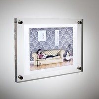 GT4157 6inch Plastic Acrylic Picture Photo Sheet Plexiglass Poster Display Frame Wall Mounting Holder Stand
