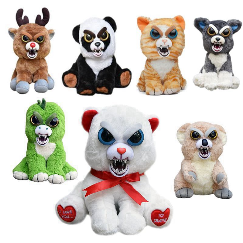 Feisty Pets Change Face Black Belt Bobby Panda Rabbit Bear Monkey Cat lion Stuffed&Animals Plush Toys Doll For Kids Baby Gifts