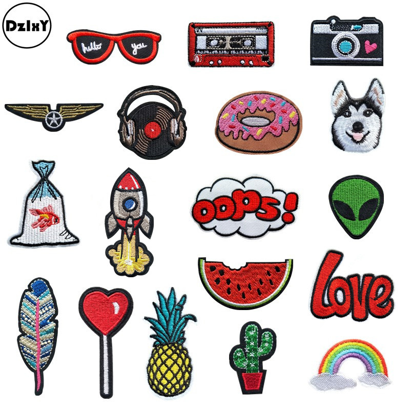 (30 Differents Styles) Animals Parches Embroidery Iron on Patches for Clothing DIY Foods Stripes Clothes UFO Stickers Appliques(China)