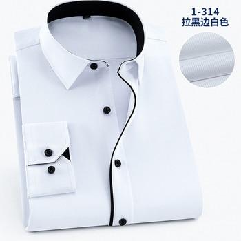цена на 6XL 7XL8XL 9XL Plus Size Shirts Men Dress Long Sleeve Black Side Solid Color Social Mens Shirts Casual Slim Fit Cotton Men shirt