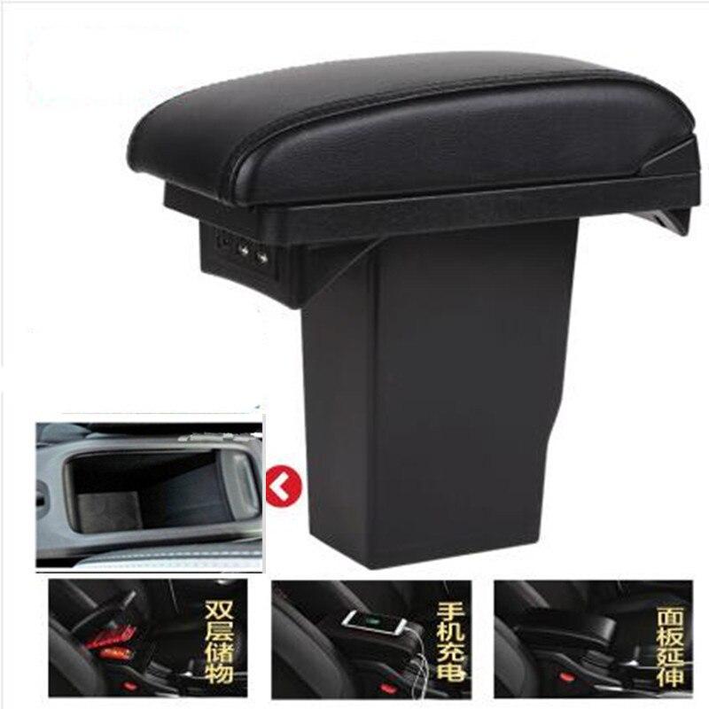 Для peugeot 2008 подлокотник коробка + 3USB черный кожаный центр Новый ящик для хранения изменения