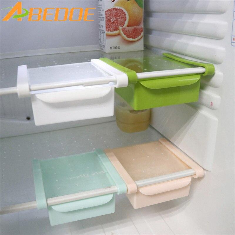 abedoe slide fridge storage rake freezer food storage boxes pantry storage organizer bins container space