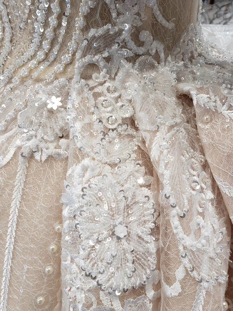 HTL433 long sleeves lace wedding dresses with train v-neck open back puffy ruffle wedding gowns heavy handwork robe de mariee (15)