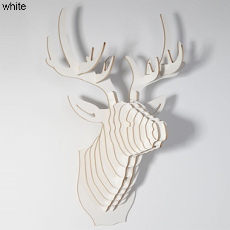 Deer Head Wall Hanging Diy Wooden Crafts Animal For European Style Home Decoration Art Wood Garden Gifts On Aliexpress Alibaba