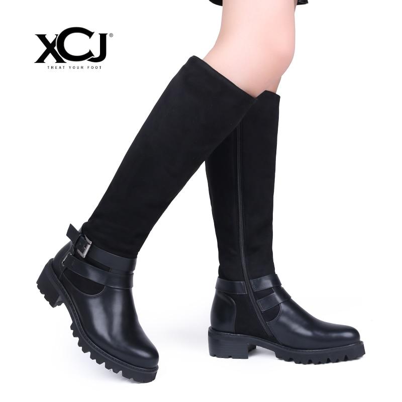 Zapatos de invierno de marca de cuero hasta la rodilla botas altas de alta calidad zapatos de mujer botas de invierno de felpa cálidas más tamaño grande XCJ