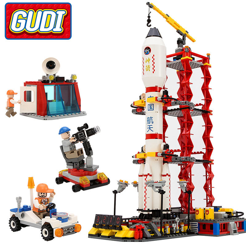 GUDI City Space Center Rocket Space Shuttle Blocks 753pcs Bricks Building Blocks Birthday Gift Educational Toys For Children gudi block city large passenger plane airplane block assembly compatible all brand building blocks educational toys for children