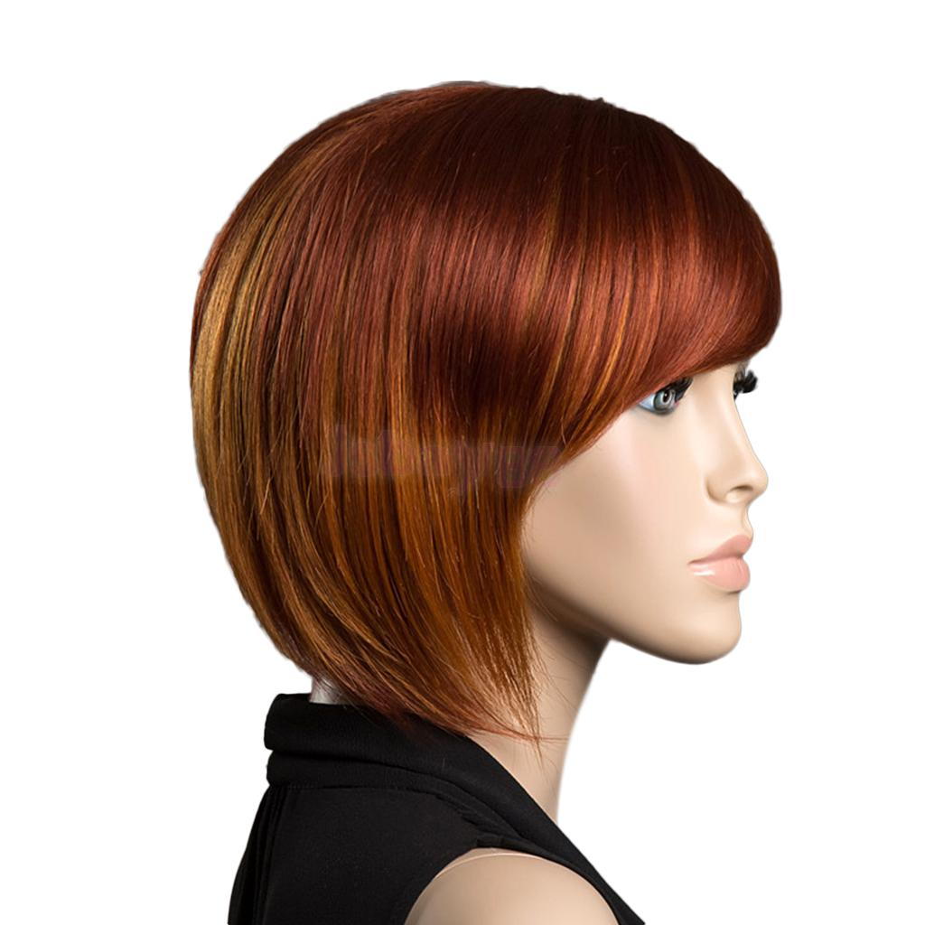 Natural Orange Red Oblique Fringe Short Straight Hair Wigs Bob Style Woman цена 2017