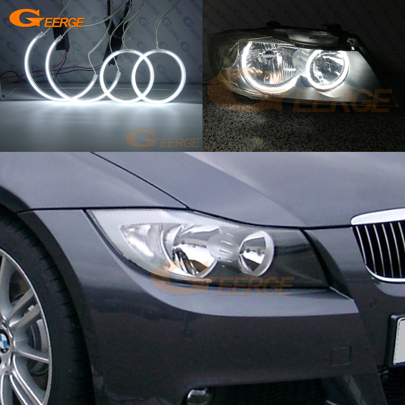 For BMW E90 E91 saloon touring 2005-2008 Halogen headlight perfect compatible Ultra bright illumination CCFL Angel Eyes kit 4pcs ccfl angel eyes ring for ford for focus ii mk2 2004 2005 2006 2007 2008 9 16v dc ccfl car headlights angel eyes ring
