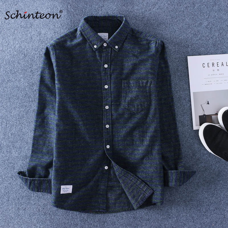 Top Quality 100% Sanding Cotton Striped Shirt Long Sleeves Casual Pure Cotton Oxford Shirt Winter Bottoming Shirt