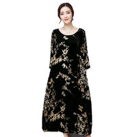 Plus Size 4XL Vintage Autumn Winter Dress Women Retro Print Women Gold Velvet Dress Maxi Long Dress Fashion TShirt Dresses C3815