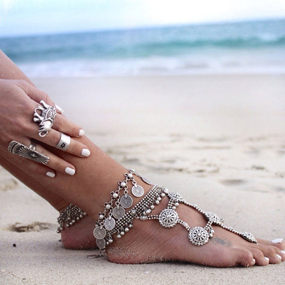 Gypsy-Antique-Silver-Turkish-Coin-Anklet-Ankle-Bracelet-Beach-Foot-Jewelry