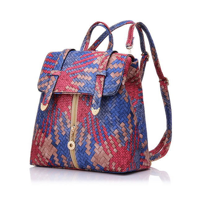 Newest Weave backpacks for teenage girls quality pu leather backpack women lovely school bags wholesale backpack shop online