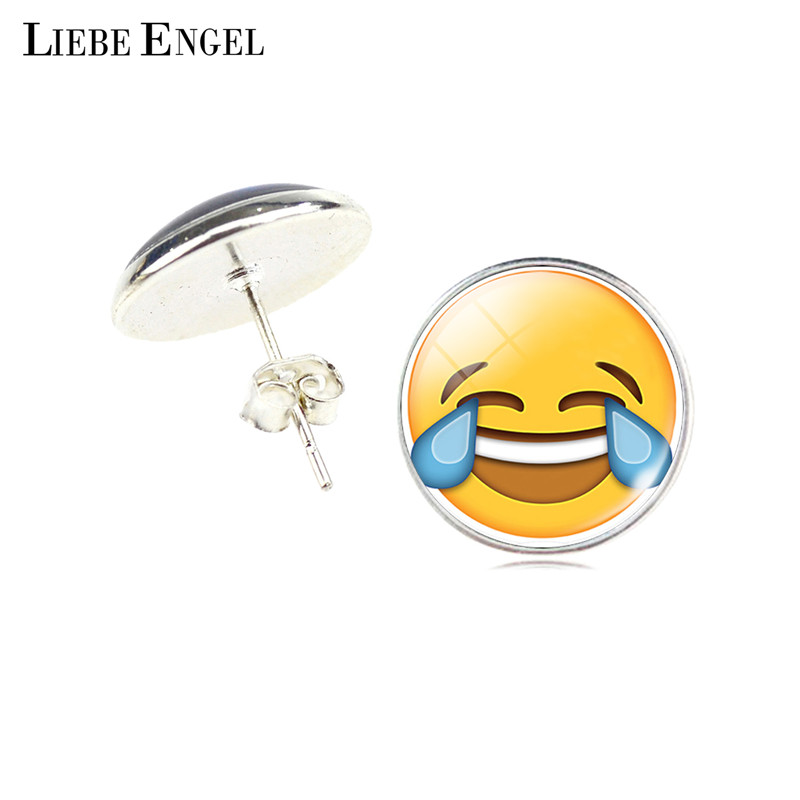 LIEBE ENGEL Vintage Silver Color Emoji Jewelry Women Accessories Fashion Emoticons Glass Cabochon Stud Earrings Fine Jewelry