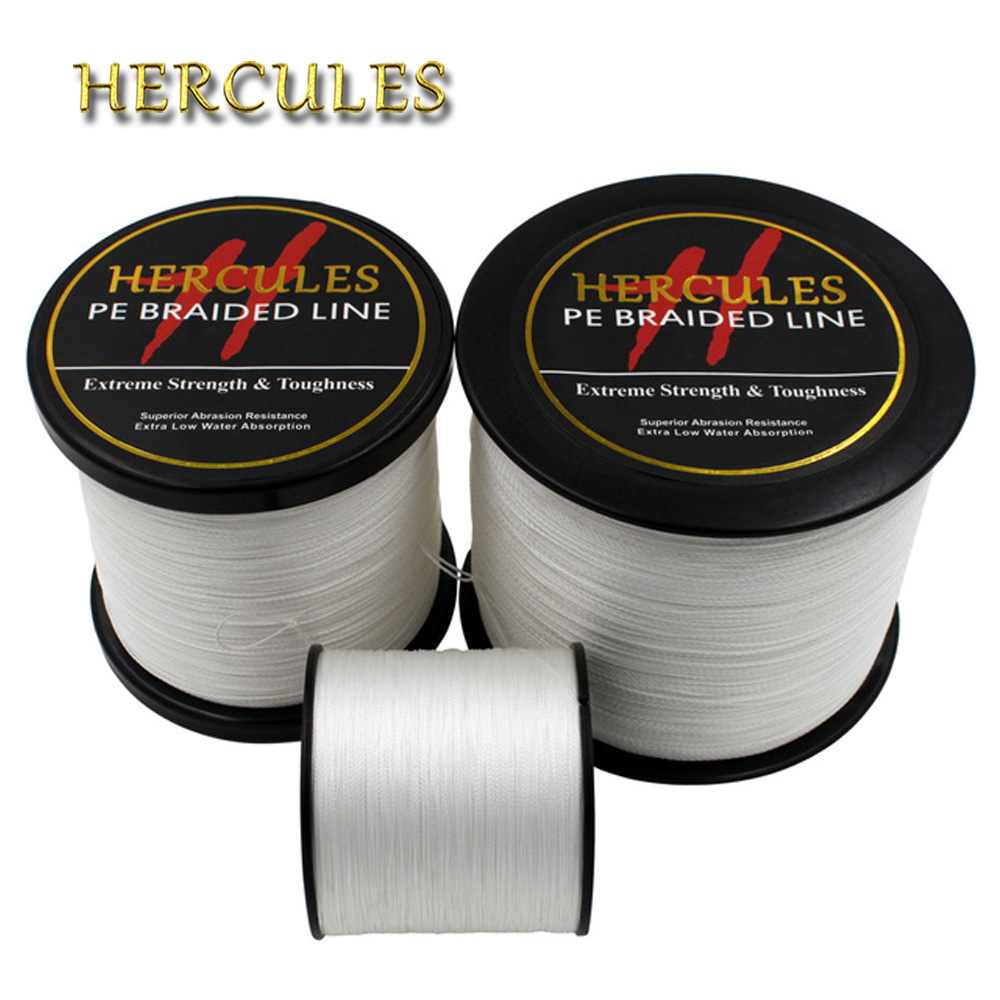 Hercules PE Braided Fishing Line Multifilament White Fishing Cord Strong 4 Strands 100M 300M 500M 1000M 1500M 2000M Fishing Line