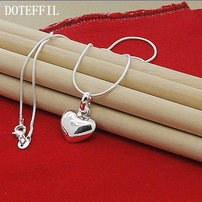 Hurtownie 925 srebrny kolorowy naszyjnik moda nowy wisiorek z serduszkiem naszyjnik dla kobiet dziewczyna prezenty