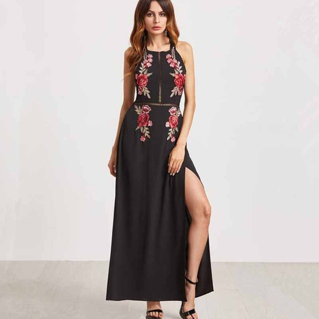 2404e3e2f2b Summer Black Beach Dress Women Sexy Backless Rose Embroidered Halter Maxi  Dress Ankle-length Dresses Chiffon High Split Vestidos