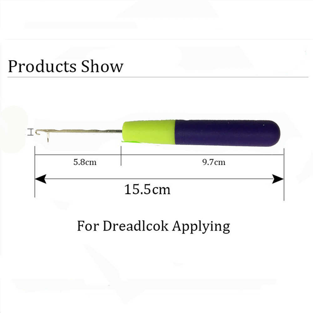 Пластиковая ручка крючком крючок дредлок Блокировка волос оплетка металлическая игла для наращивания волос фиолетовая ручка