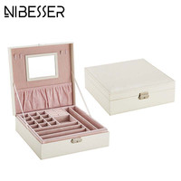 NIBESSER Lady Leather Make Up Case Women Cosmetic Cases Jewlery Organizer Holder Beauty Casket Elegant Cosmetic