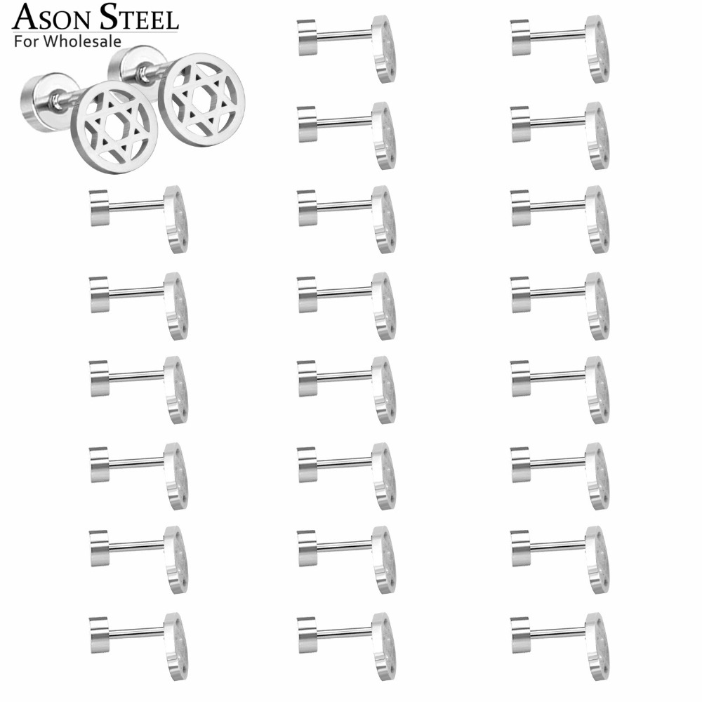 ASONSTEEL 12Pairs,Wholesale Women Men's Silver Stainless Steel Earrings Punk Star Pentagram Stud Earrings