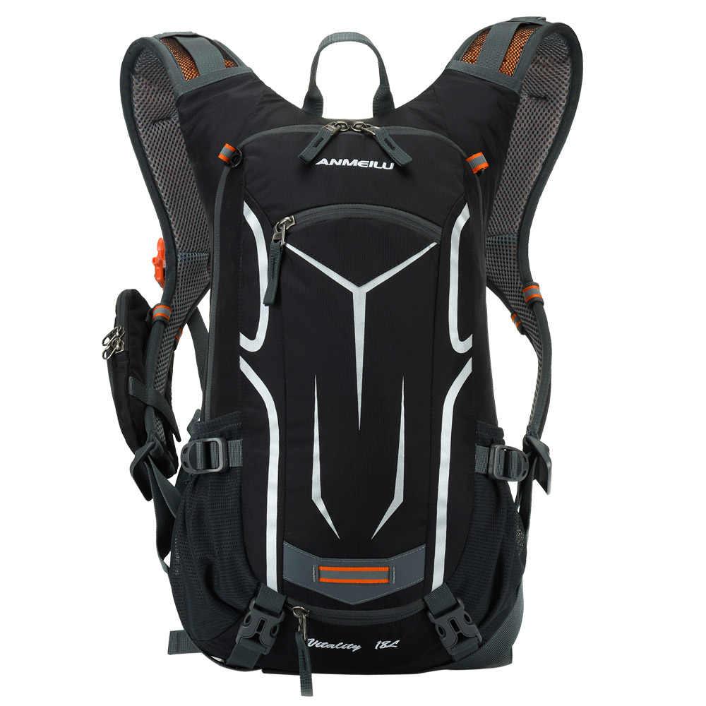 Anmeilu 18L Pendakian Ransel Tas Olahraga Berkuda Tas Ransel Hidrasi Tas Kantong Air Ransel + Rain Cover Set untuk Wanita