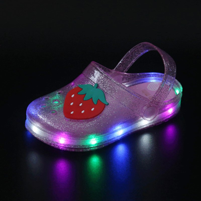 2019 Fashion New Summer LED Lights Children Cartoon Fruit Cave Jelly Shoes Boys And Girls Two Wear Antiskid Slippers Sandals