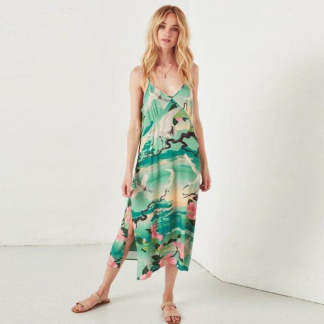Nightingale Slip Dress 2018 New Gypsy Style Summer Dresses Sexy V-Neck Adjustable Straps Dress Women Midi Dresses Boho Vestidos